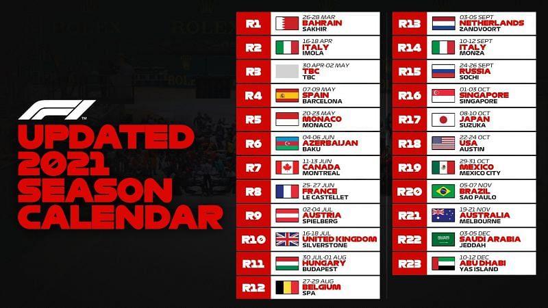 Formula 1 announced an updated calendar for the 2021 season.