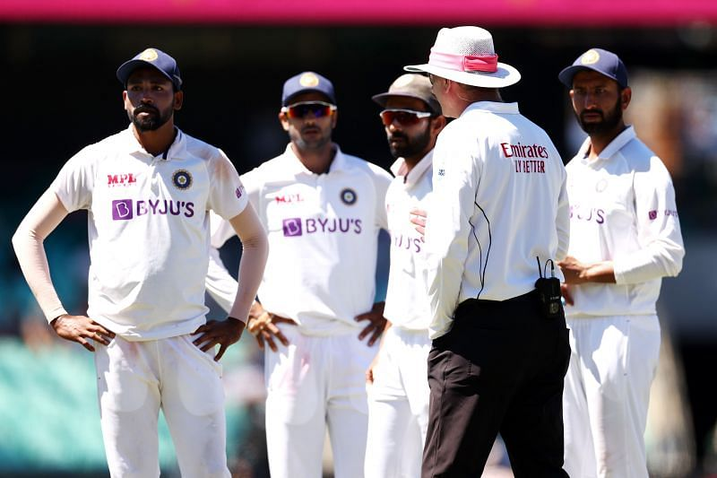 Indian players complaining to the umpire.