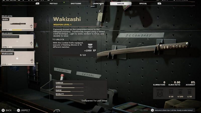 The Wakizashi Sword in CoD: Black Ops Cold War