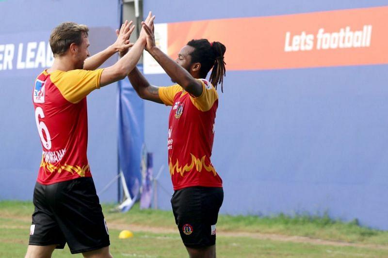 Jacques Maghoma celebrates a goal with Matti Steinmann. (Image: SC East Bengal)