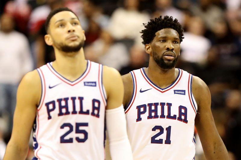 Ben Simmons and Joel Embiid of the Philadelphia 76ers