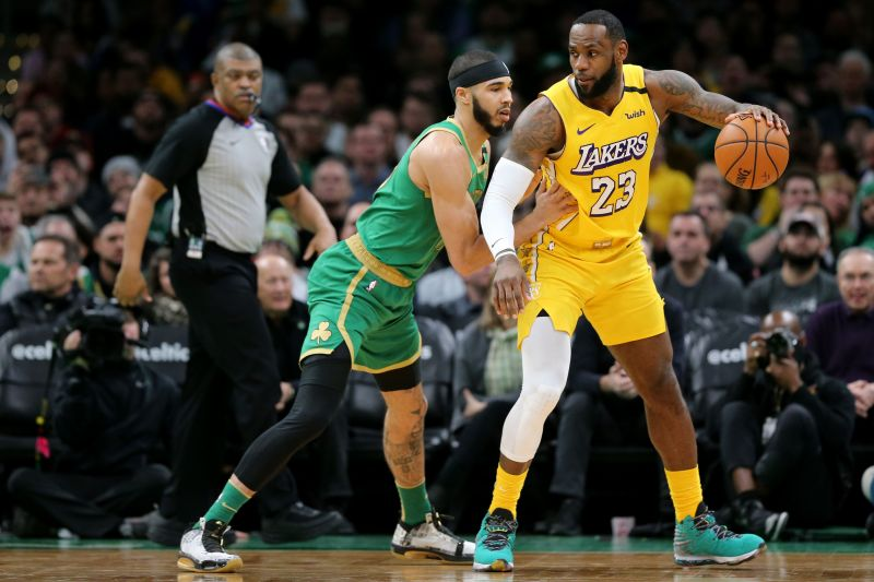 Jayson Tatum #0 of the Boston Celtics defends LeBron James #23 of the Los Angeles Lakers at TD Garden on January 20, 2020 in Boston, Massachusetts (Photo by Maddie Meyer/Getty Images)