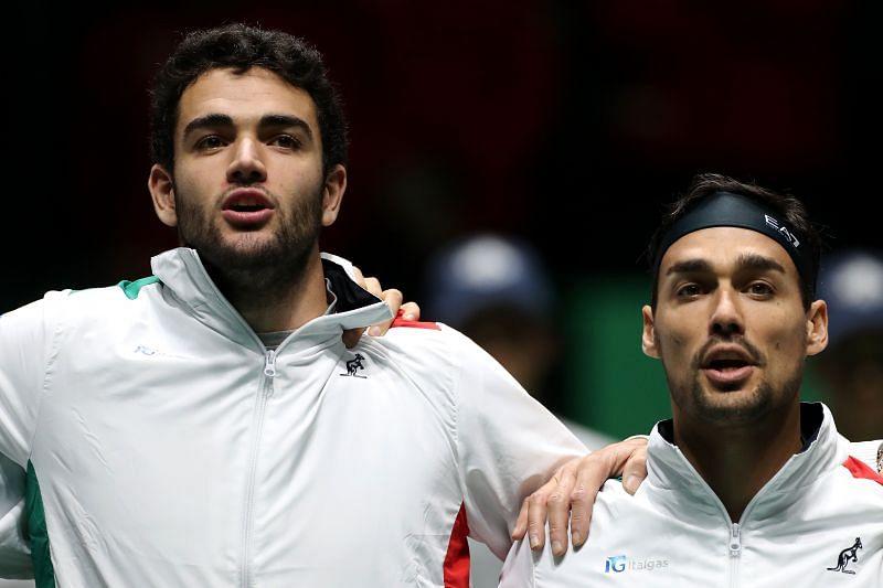 Matteo Berrettini (L) and Fabio Fognini at the 2019 Davis Cup