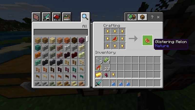Crafting a glistering Melon in Minecraft