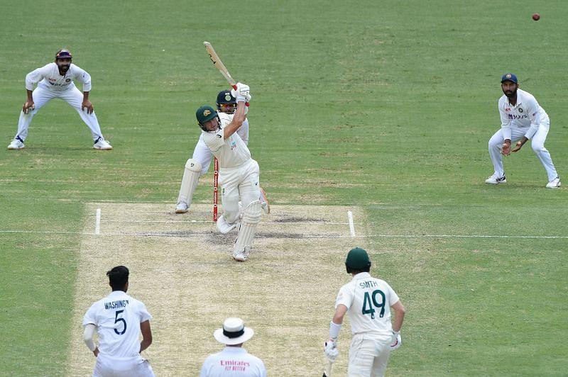 Marnus Labuschagne in action against India.