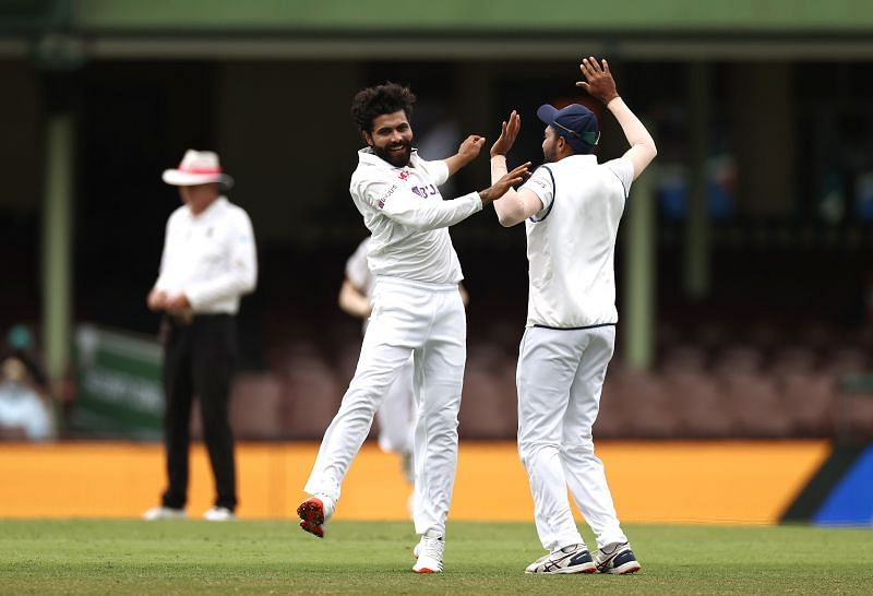 Ravindra Jadeja celebrates after picking up a wicket