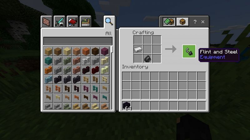 Crafting Flint and Steel in Minecraft