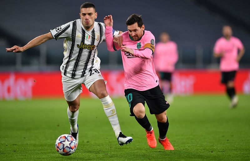 Demiral in action in Juventus v FC Barcelona UEFA Champions League Group G match