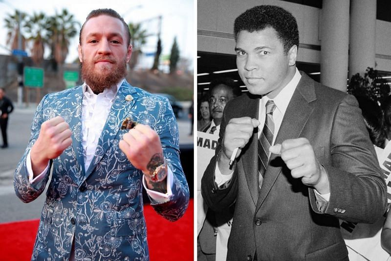 Conor McGregor (left) imitates Muhammad Ali (right) in a boxing stand