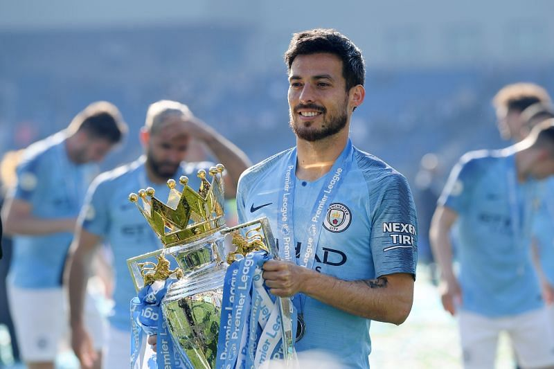 David Silva with the Premier League trophy during his time at Manchester City