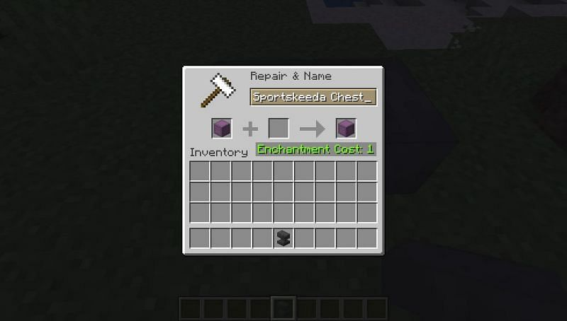 Renaming a shulker box in Minecraft by using an anvil. (Image via Minecraft)