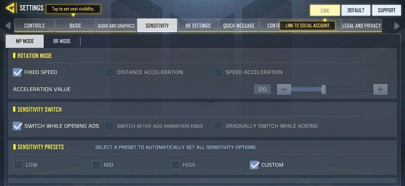 Sensitivity settings in COD Mobile Multiplayer