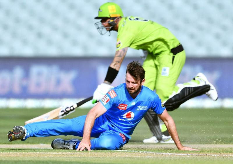 Action from the BBL game between Adelaide Strikers & Sydney Thunder.