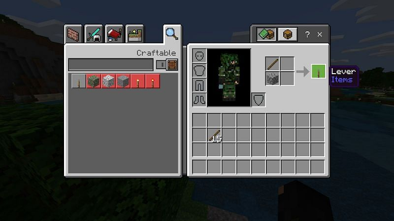 To make a lever simply gather a piece of cobblestone and one stick and place them in your crafting menu