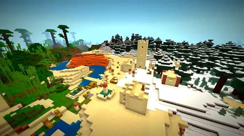 A desert village that has snow covering it. (Image via Minecraft & Chill/YouTube)