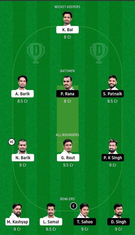 Dream11 Team for Odisha Jaguars vs Odisha Pumas - Odisha Cricket League.