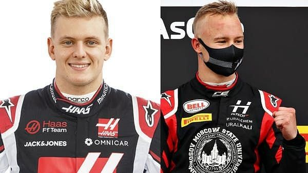Mick Schumacher (L) would partner Nikita Mazepin at Haas in his rookie season