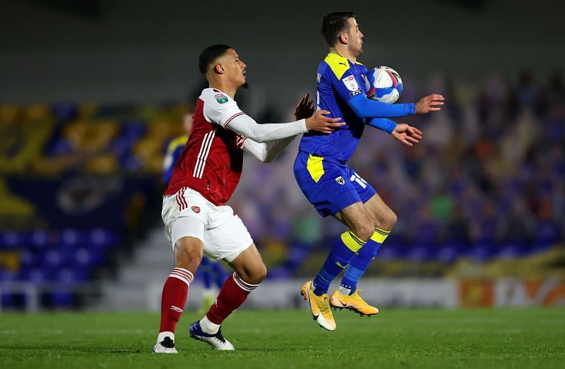 Saliba in action for the Arsenal U21s.