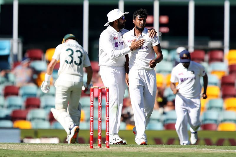 T Natarajan scalped two wickets on the first day of the Brisbane Test.