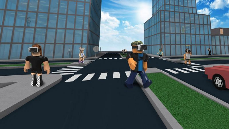 Roblox avatars wearing VR headsets. (Image via blog.roblox.com)