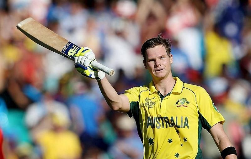 Steve Smith celebrates after scoring a hundred in the semi-final of the 2015 World Cup against India.