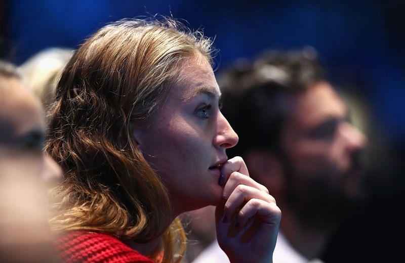 Kristina Mladenovic watching Dominic Thiem vs Grigor Dimitrov at the 2017 ATP Finals