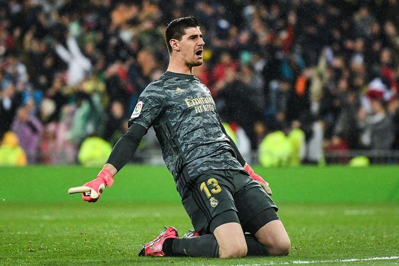 Real Madrid goalkeeper Thibaut Courtois celebrates a goal