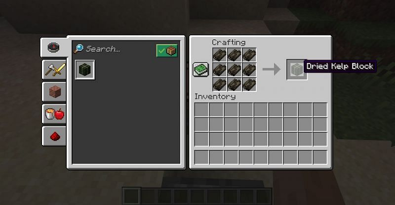 The crafting recipe for a dried kelp block in Minecraft. (Image via Minecraft)