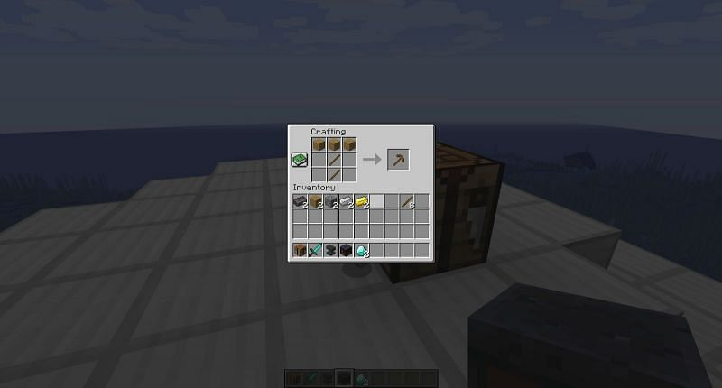 To find a diamond, you first need to craft a wooden pickaxe.