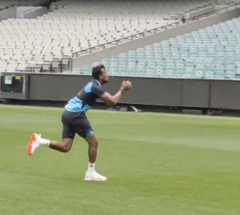 T. Natarajan takes a brilliant catch during practice. Pic: Indian cricket team/ Instagram