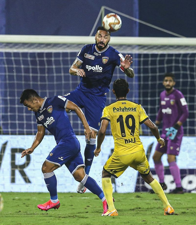 Eli Sabia had a better game compared to Enes Sipovic for Chennaiyin FC against Hyderabad FC (Image Courtesy: ISL Media)