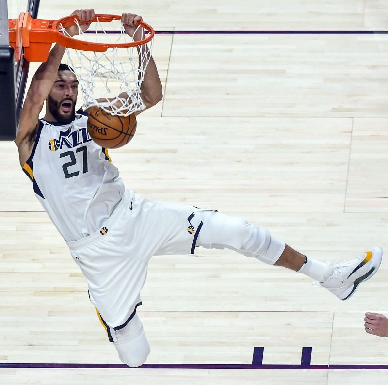 Rudy Gobert of the Utah Jazz dunks against the Dallas Mavericks during a game at Vivint Smart Home Arena