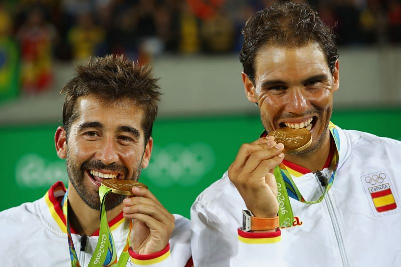 Gold medalists Rafael Nadal and Marc Lopez at the Rio 2016 Olympic Games