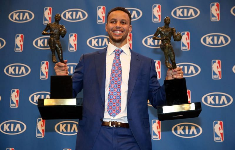 Stephen Curry with his two MVP honors in 2016
