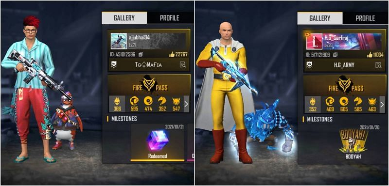 Free Fire IDs of Ajjubhai and Helping Gamer