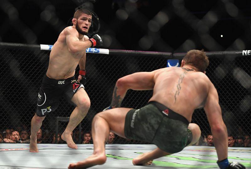 Khabib Nurmagomedov drops Conor McGregor at UFC 229 back in 2018