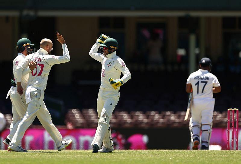 Australians celebrate after dismissing Rishabh Pant