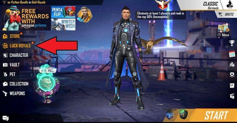Clique na opção Luck Royale