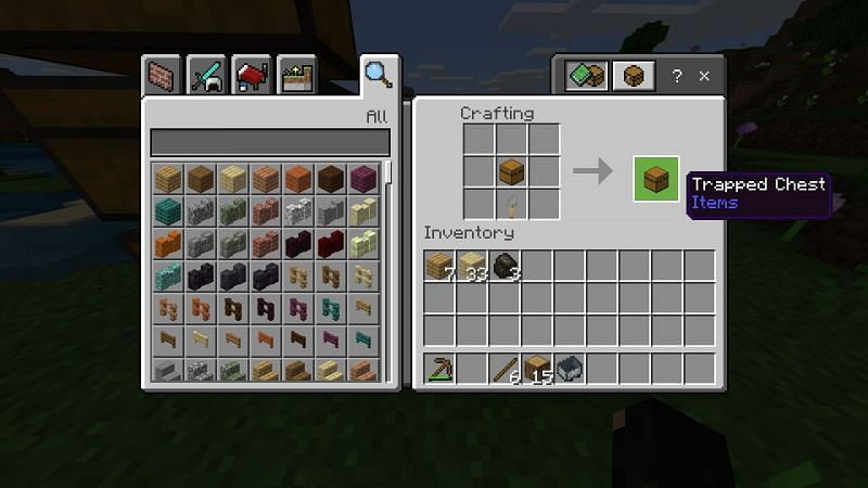 Step 1 for making trapped chest in minecraft