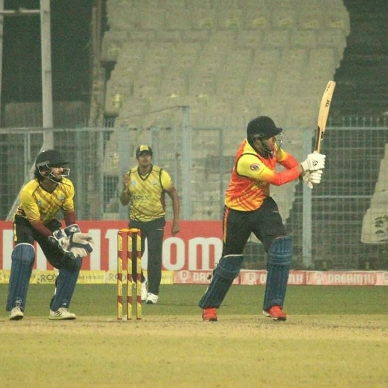 Kanishk Seth in action during the Bengal T20 Challenge