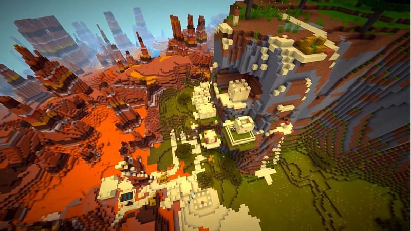 A Minecraft seed that features a desert village that is sprawled across multiple biomes. (Image via Minecraft & Chill/YouTube)