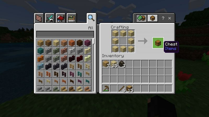 Step 1 for making a chest in minecraft