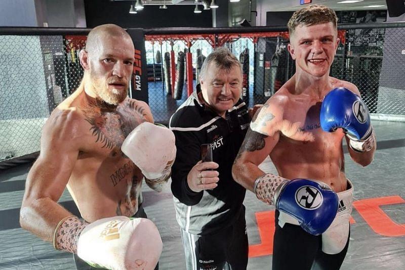 Conor McGregor, boxing coach Phil Sutcliffe, and Dylan Moran. Image credit: Dylan Moran