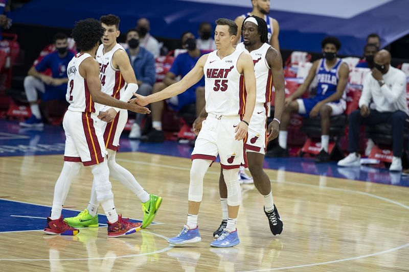 Gabe Vincent #2, Tyler Herro #14, Precious Achiuwa #5, and Duncan Robinson #55 of the Miami Heat on the court against the Philadelphia 76ers at the Wells Fargo Center on January 12, 2021 (Photo by Mitchell Leff/Getty Images)