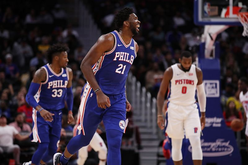 Joel Embiid of the Philadelphia 76ers reacts to a second-half basket while playing the Detroit Pistons at Little Caesars Arena