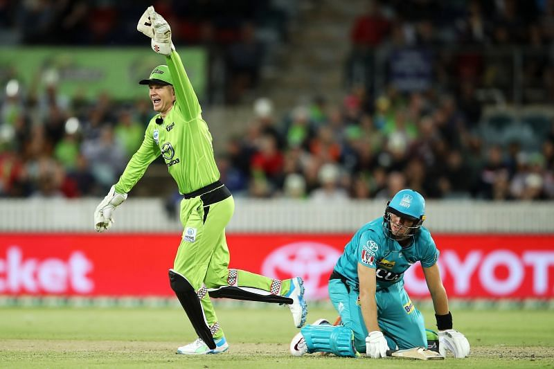 Action from the Sydney Thunder v Brisbane Heat game