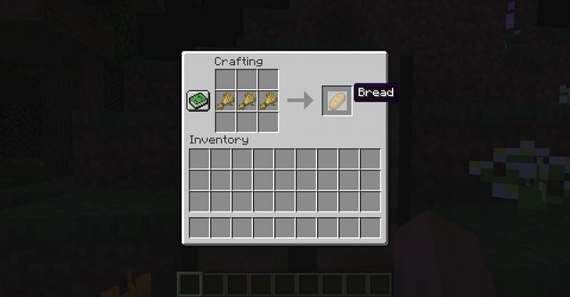 The crafting recipe for bread in Minecraft (Image via Minecraft)
