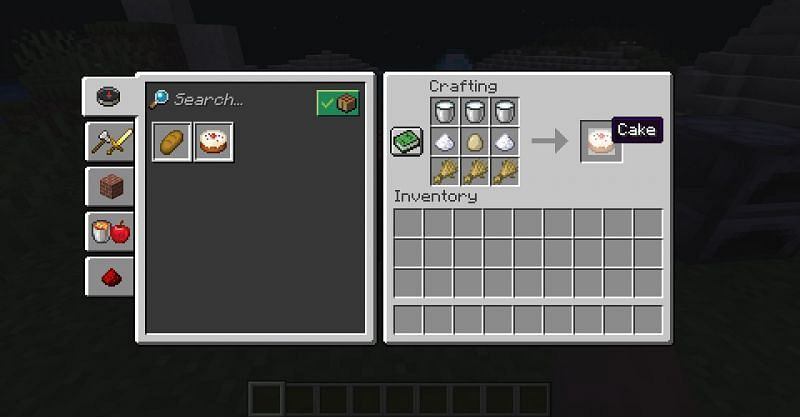 The crafting recipe for a cake in Minecraft (Image via Minecraft)