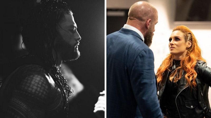 Roman Reigns (left); Triple H and Becky Lynch (right)