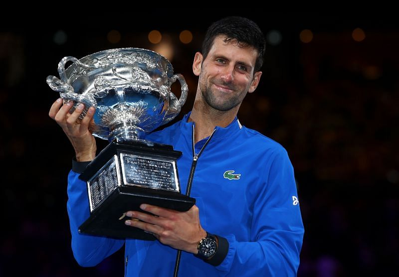 Novak Djokovic with his 2019 Australian Open title